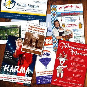 Flyer für Veranstaltungen und Feste, viele Formate von DIN A6 bis DIN A3