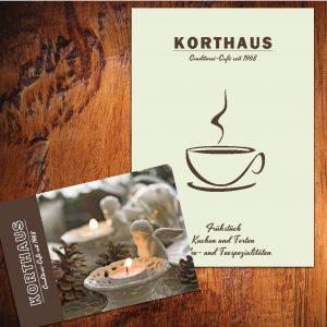DIN A5 Speisekarte und Postkarte für ein Café