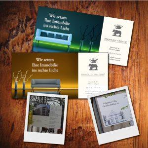 Flyer und Bauschilder für eine Immobilienfirma