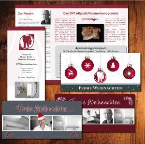 Verschiedene Weihnachtskarten für eine Arztpraxis